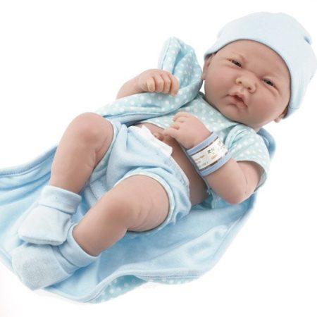 Játékbaba nagykereskedés - Berenguer újszülött fiú karakterbaba pöttyös kék ruhában