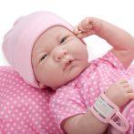 Játékbaba nagykereskedés - Berenguer újszülött lány karakterbaba pöttyös pink ruhában