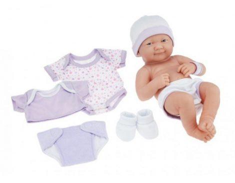 Élethű Berenguer Játékbabák - Újszülött lány lila ruhában sapkával kiegészítőkkel 36cm