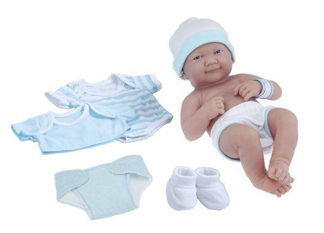 Berenguer mosolygós élethű lány játékbaba 8db-os kék-fehér kiegészítővel 35cm