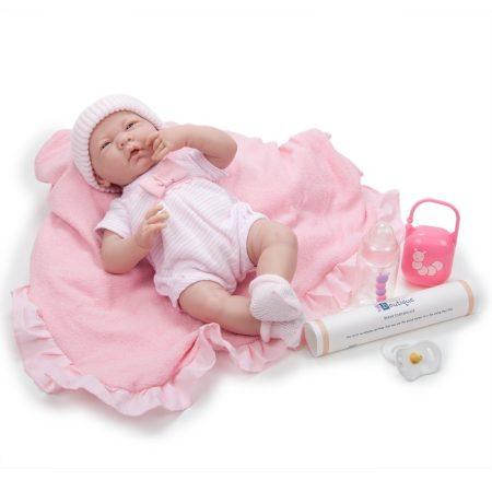 Játékbaba nagykereskedés- Élethű Berenguer Játékbabák- Újszülött lány rózsaszín masnis ruhában sapká
