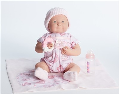 Játékbaba nagykereskedés- Berenguer játékbabák- újszülött lány luxusbaba puha rózsaszín ruhában kieg