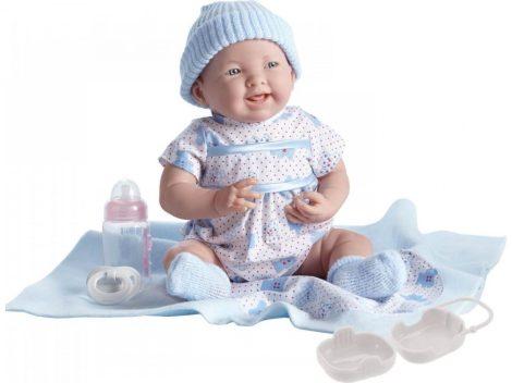 Játékbaba nagykereskedés- Élethű Berenguer Játékbabák - újszülött lány luxus baba kék mintás ruhában