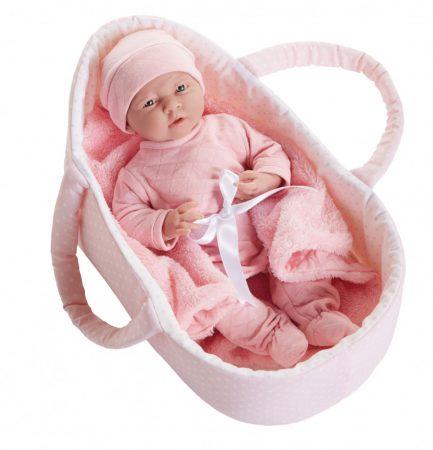 Játékbaba nagykereskedés -  Berenguer újszülött lány karakterbaba rózsaszín mózeskosárban 39 cm