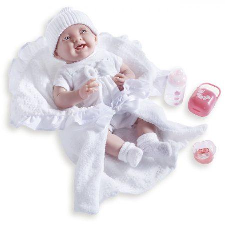 Játékbaba nagykereskedés- Élethű Berenguer Játékbabák- Újszülött lány luxus baba fehér ruhában kiegé