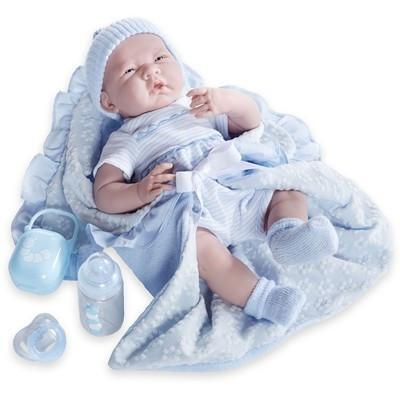 Játékbaba nagykereskedés-Élethű Berenguer újszülött fiú luxus baba kék ruhában kiegészítőkkel