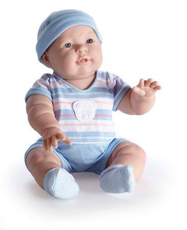 Játékbabák - Berenguer Lucas karakterbaba kék csíkos ruhában