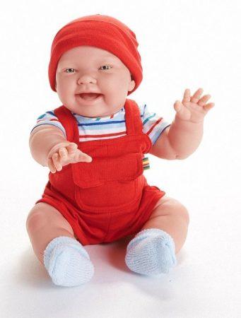 Játékbaba nagykereskedés -  Berenguer Nico karakterbaba piros kord kertésznadrágban 46 cm