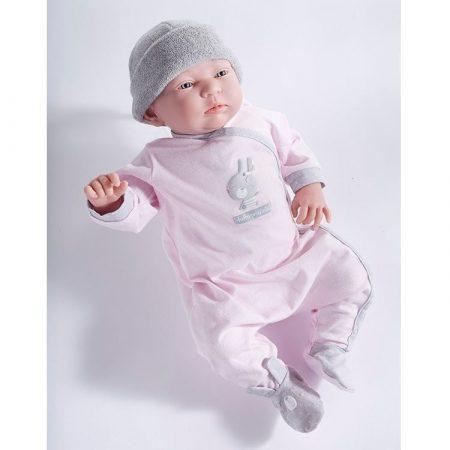 Élethű Berenguer Exkluzív limitált Játékbabák Újszülött lány rózsaszín ruhában szürke  Lucia kifutó