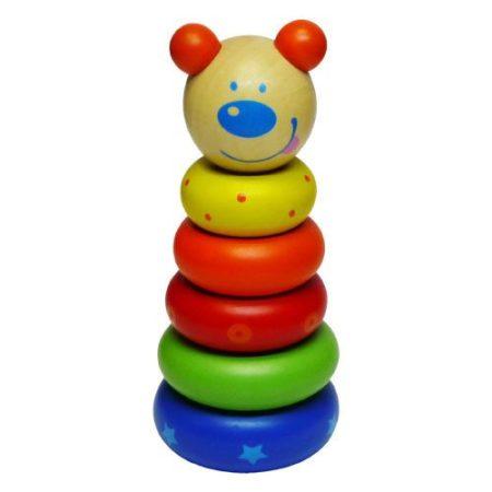 Készségfejlesztő fa játék Montesszori torony macis