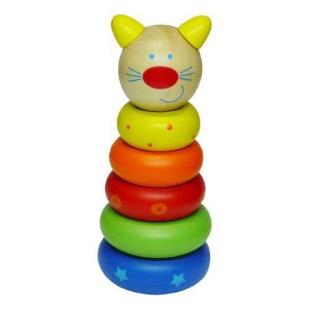 Montesszori kicsi, cicás készségfejelsztő fa játék