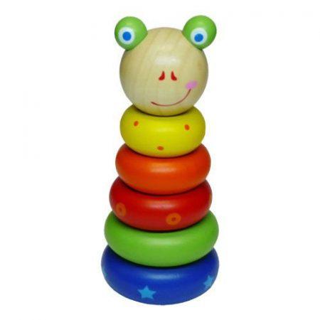 Fa játék Montesszori torony kicsi, békás