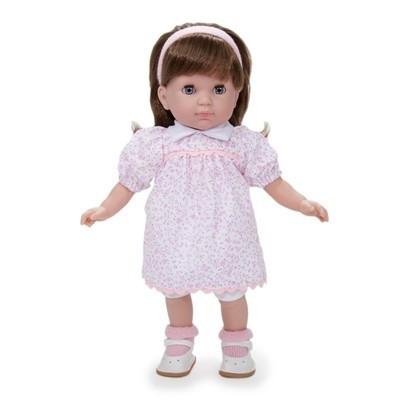 Játékbaba nagykereskedés -  Berenguer barna hajú Carla játékbaba rózsaszín virágos ruhában 36 cm