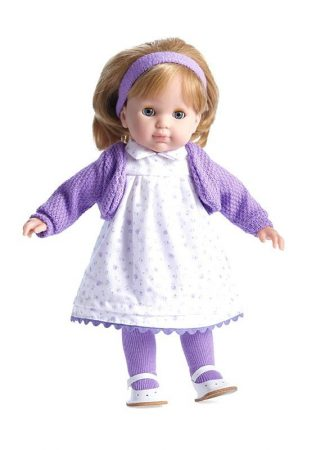 Hajasbaba Berenguer szőke hajú Carla játékbaba lila virágos ruhában 36cm