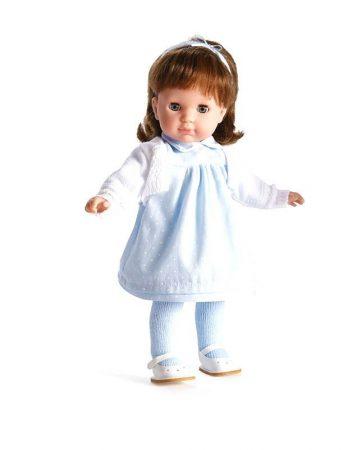 Hajasbaba Berenguer barna hajú Carla játékbaba pöttyös kék ruhában 36cm