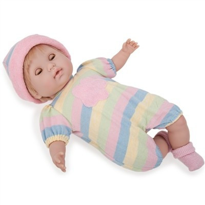 Berenguer-Nonis karakterbaba szőke színes ruhában 38 cm