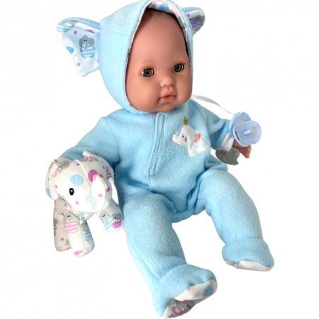 Berenguer játékbaba puhatestű 38cm elefántos kék csukódó szemmel JC Toys