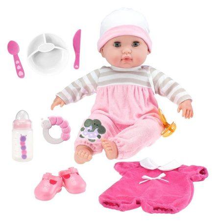 Élethű Berenguer Játékbabák lány játékbaba rózsaszín ruhában kiegészítővel 38cm