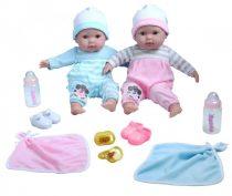 Játékbaba nagykereskedés- Élethű berenguer Játékbabák- puha testű ikerbabák kék-rózsaszín ruhában ki