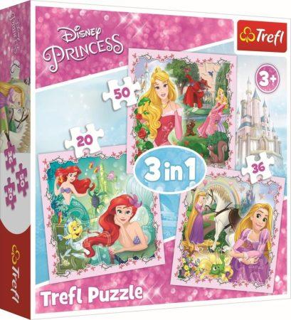 Disney Hercegnők és kiskedvenceik 3in1 puzzle Trefl