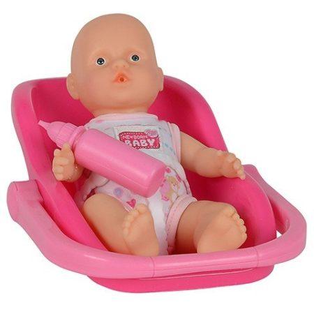 Újszülött baba cumisüveggel babahordozóban 15cm Simba