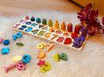 Montessori oktató tábla - számok, formák, ismeretek fa játék