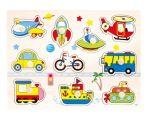 Kirakós játékok - Fa fogantyús járműves puzzle