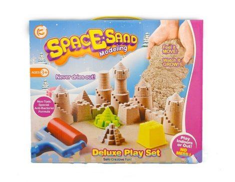 Homokgyurma készlet tálcával kastéllyal lapáttal homokozóformákkal