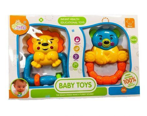 Csörgő babáknak oroszlán+maci többféle színváltozatban