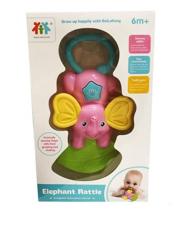 Csörgő babáknak elefántos rózsaszín
