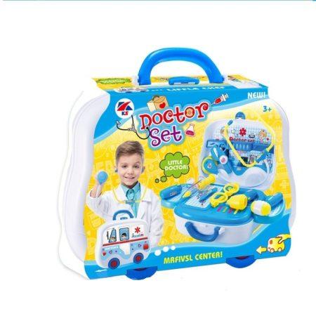 Doktor szett autós kofferban kék fiuknak
