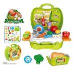 Szeletelhető játék ételek bőröndben mosogatóval
