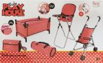 Játékbaba utazó szett etető, babakocsi, utazóágy, pelenkázótáska