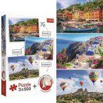 Portofino, Santorini és Kappadókia - 3 x 500 db-os puzzle - Trefl