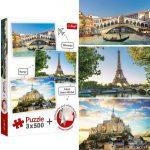 Velence, Párizs, Mont-Saint-Michel - 3 x 500 db-os puzzle - Trefl