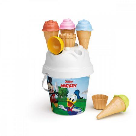 Mickey egeres homokozó készlet fagyis formákkal, tölcsérrel, fagylalt kanállal