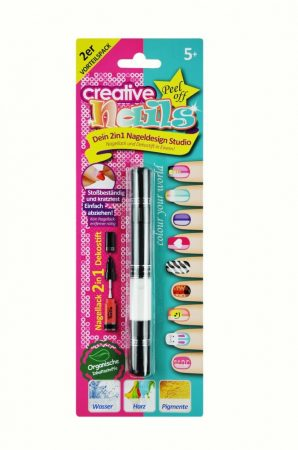2 az 1-ben Lehúzható körömlakk gyerekeknek - 1 toll 2 szín 4 fej díszítő+ecset Fekete/Fehér