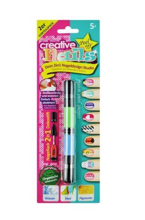 2 az 1-ben Lehúzható körömlakk gyerekeknek - 1 toll 2 szín 4 fej díszítő+ecset Égkék/Zöldalma