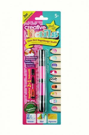 2 az 1-ben Lehúzható körömlakk gyerekeknek - 1 toll 2 szín 4 fej díszítő+ecset Pink/Magenta