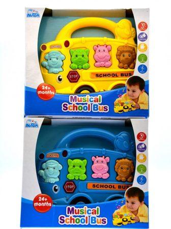 Állathangos zenélő babajáték iskolabusz formában 2 féle