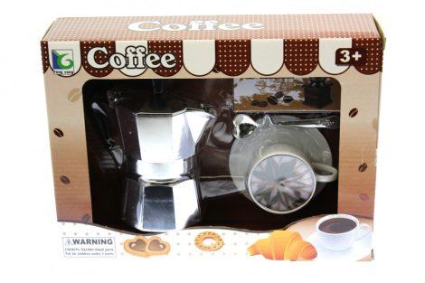 Játék kávéfőző szett kotyogós kávéfőzővel, kávéscsészével