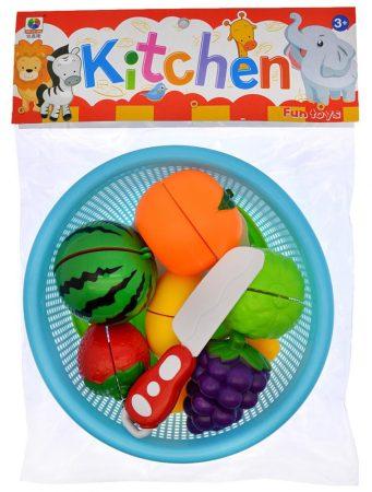 Szeletelhető játék gyümölcsök szűrővel, késsel