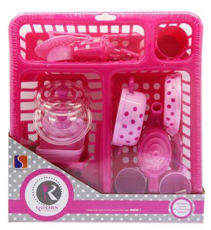 Rózsaszín pöttyös játék edénykészlet edényszárítóban