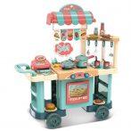 Játék gurulós büféskocsi és konyha