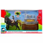Játék lovas készlet, ló, lovas, kiegészítők