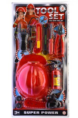 Játék tűzoltó készlet sisakkal