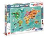 Exploring Maps - Világatlasz felfedező puzzle 250 db - Clementoni