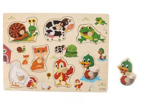 Fogantyús fa puzzle kirakó berakó állatos