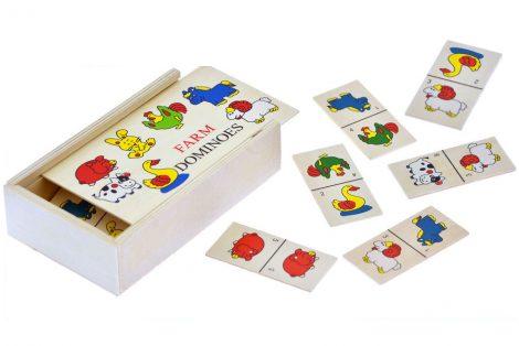 Háziállat képes fa dominó játék - Farm