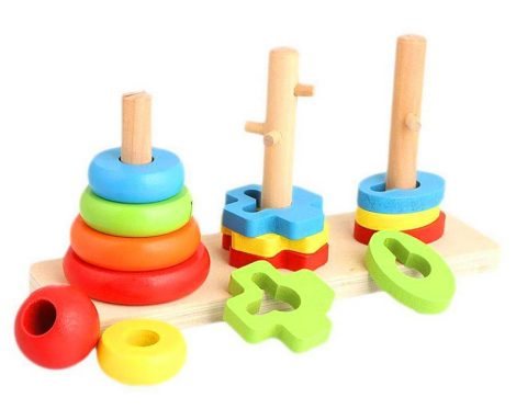 Fa montesori játék 3 féle formával